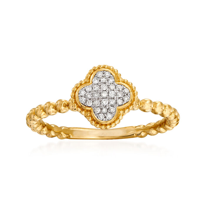 .10 ct. t.w. Diamond Clover Ring in 14kt Yellow Gold
