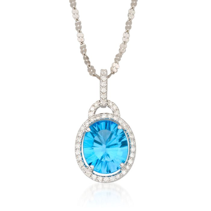 """5.00 Carat Topaz Necklace with Diamonds in 14kt White Gold. 18"""""""