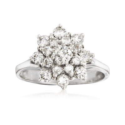 C. 2000 Vintage 1.00 ct. t.w. Diamond Cluster Ring in 14kt White Gold, , default