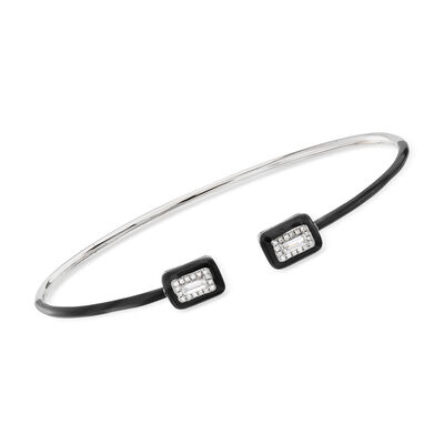 .20 ct. t.w. Diamond Cuff Bracelet with Black Enamel in 18kt White Gold, , default