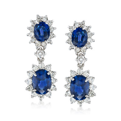 5.20 ct. t.w. Sapphire and 1.35 ct. t.w. Diamond Drop Earrings in 14kt White Gold, , default
