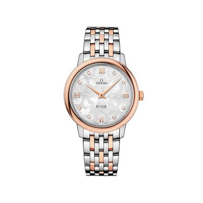 Omega De Ville Prestige Butterfly Women's 32.7mm Stainless Steel and 18kt Rose Gold Watch with Diamonds, , default