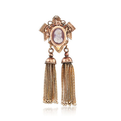 C. 1940 Vintage Pink Agate Cameo and Tassel Pin in 10kt Yellow Gold