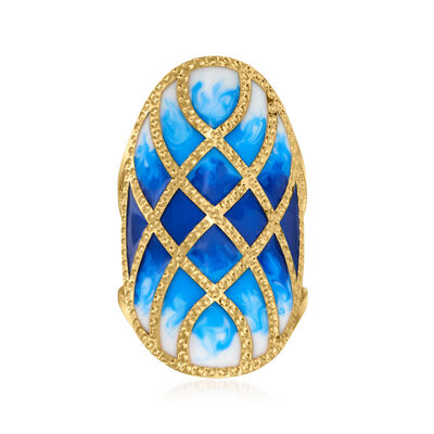 Italian Blue and White Enamel Ring in 14kt Yellow Gold