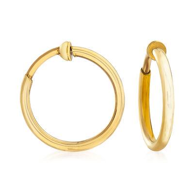 14kt Yellow Gold Medium Clip-On Hoop Earrings, , default