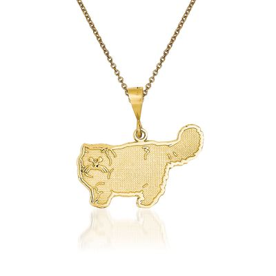 14kt Yellow Gold Cat Pendant Necklace, , default