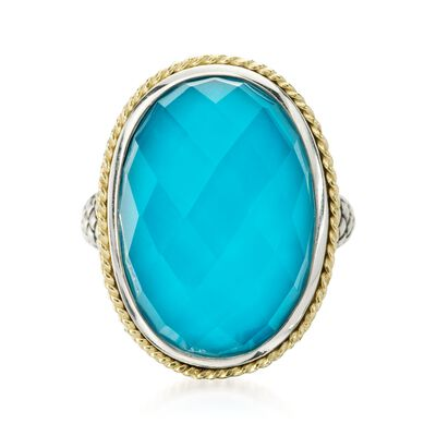 Andrea Candela Turquoise Doublet Ring in 18kt Yellow Gold and Sterling Silver, , default