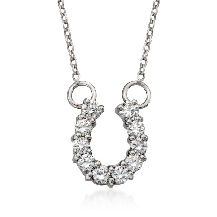 """Roberto Coin """"Tiny Treasures"""" .23 ct. t.w. Diamond Horseshoe Necklace in 18kt White Gold"""