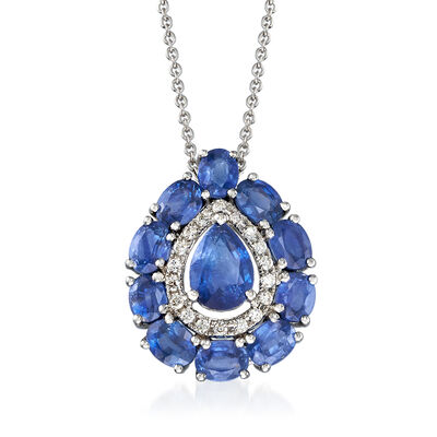 3.00 ct. t.w. Sapphire and .10 ct. t.w. Diamond Pendant Necklace in 18kt White Gold, , default