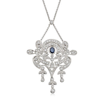1.30 ct. t.w. Diamond and .30 Carat Sapphire Chandelier Necklace in 18kt White Gold, , default