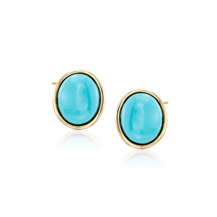 Oval Synthetic Turquoise Earrings in 14kt Yellow Gold, , default