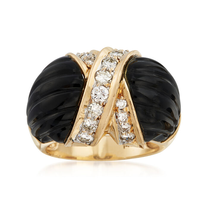 C. 1980 Vintage Onyx and .70 ct. t.w. Diamond X Ring in 14kt Yellow Gold. Size 6.5, , default