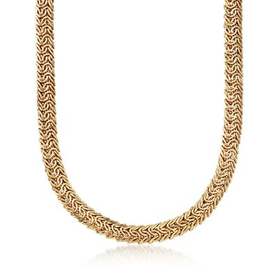 14kt Gold Over Sterling Double Row Link Necklace, , default