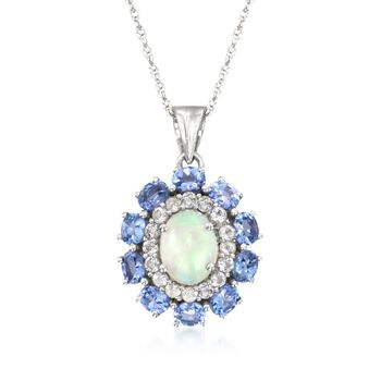 """Opal and 1.50 ct. t.w. Tanzanite Pendant Necklace With White Topaz in 14kt White Gold Over Sterling. 18"""", , default"""