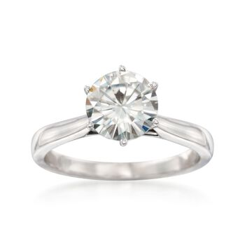 2.00 Carat Synthetic Moissanite Solitaire Ring in 14kt White Gold. Size 9, , default
