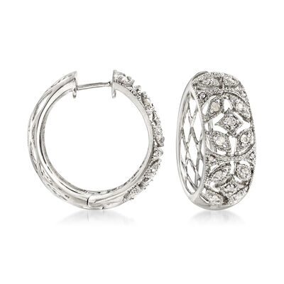 .50 ct. t.w. Diamond Floral Hoop Earrings in Sterling Silver