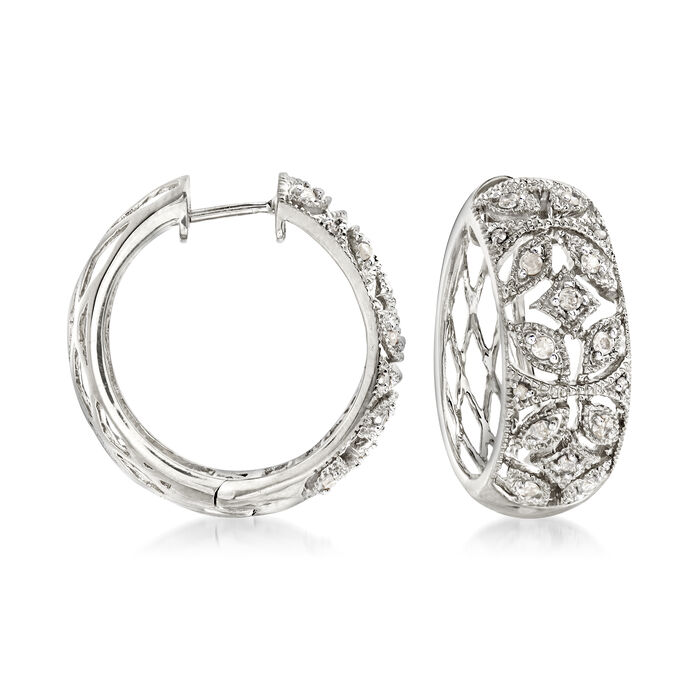 .50 ct. t.w. Diamond Floral Hoop Earrings in Sterling Silver