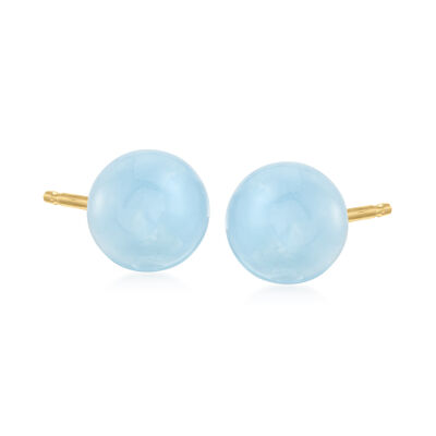 13.00 ct. t.w. Milky Aquamarine Stud Earrings in 14kt Yellow Gold