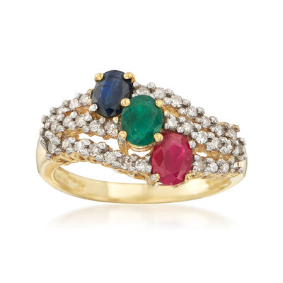 C. 1980 Vintage 1.15 ct. t.w. Multi-Stone and .40 ct. t.w. Diamond Ring in 14kt Yellow Gold, , default