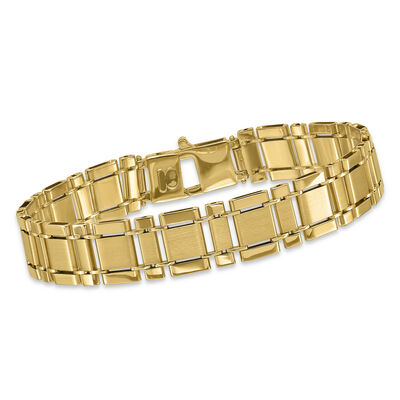 Men's 14kt Yellow Gold Alternating Square Link Bracelet, , default