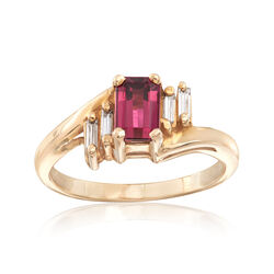 C. 1980 Vintage .55 Carat Pink Tourmaline and .10 ct. t.w. Diamond Ring in 14kt Yellow Gold. Size 5, , default