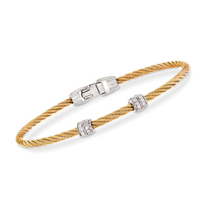 "ALOR ""Classique"" .13 ct. t.w. Diamond Yellow Stainless Steel Cable Bracelet with 18kt White Gold, , default"