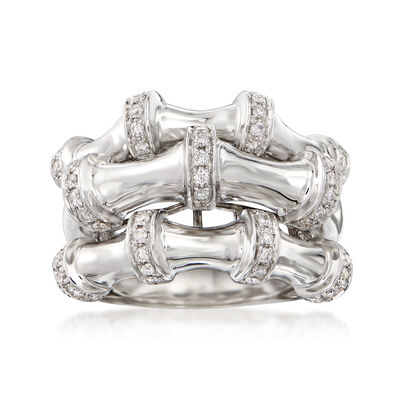 .63 ct. t.w. Diamond Three-Row Ring in 14kt White Gold, , default