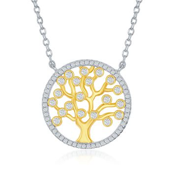 """.60 ct. t.w. CZ Tree of Life Necklace in Two-Tone Sterling Silver. 16.5"""", , default"""