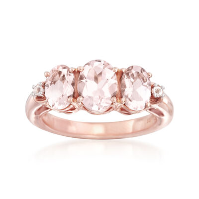 2.60 ct. t.w. Morganite Ring with White Topaz Accents in 18kt Rose Gold Over Sterling, , default