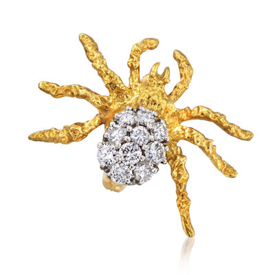 C. 1980 Vintage .50 ct. t.w. Diamond Spider Pin in 18kt Yellow Gold