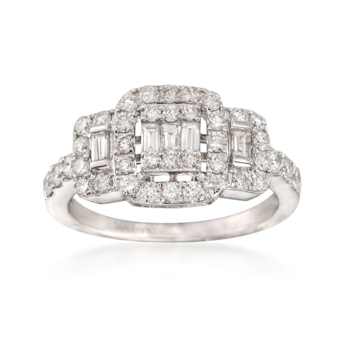 1.08 ct. t.w. Baguette and Round Diamond Ring in 14kt White Gold