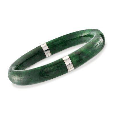 Green Jade Bangle Bracelet with Sterling Silver, , default