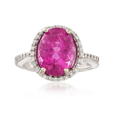 C. 1980 Vintage 5.20 ct. t.w. Pink Tourmaline and .30 ct. t.w. Diamond Ring in 14kt White Gold