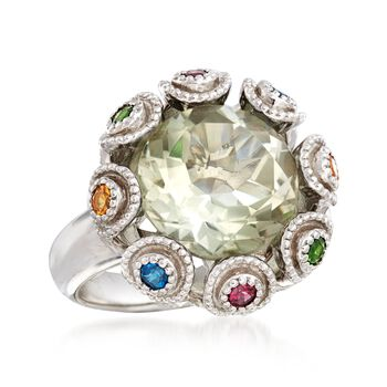 5.50 Carat Green Prasiolite and .39 ct. t.w. Multi-Stone Ring in Sterling Silver, , default