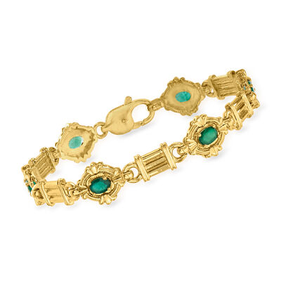 C. 1985 Vintage 1.50 ct. t.w. Emerald Bracelet in 14kt Yellow Gold