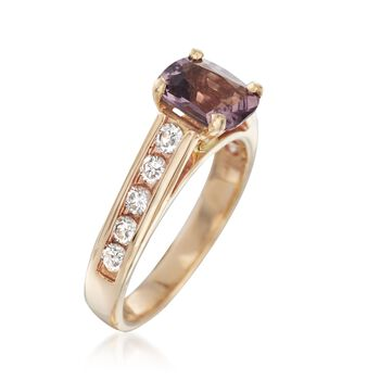 C. 1970 Vintage 1.34 Carat Lavender Spinel and .50 ct. t.w. Diamond Ring in 14kt Yellow Gold. Size 5.5, , default