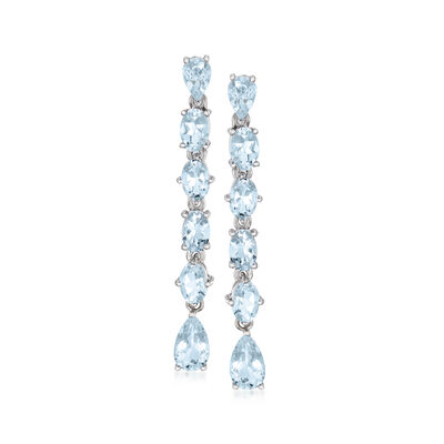 5.30 ct. t.w. Aquamarine Linear Drop Earrings in Sterling Silver, , default