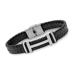 Men's Black Leather and Stainless Steel Bracelet With Rubber, , default