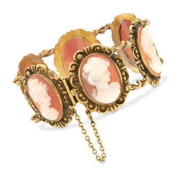 C. 1970 Vintage Pink Shell Multi-Cameo Bracelet in 14kt Yellow Gold. 7.75""