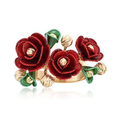 Italian 14kt Multicolored Gold Flower Ring, , default