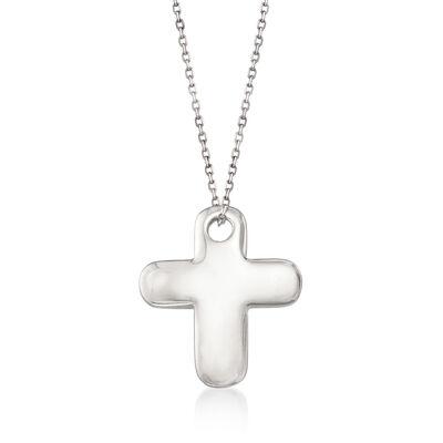 14kt White Gold Cross Pendant Necklace, , default