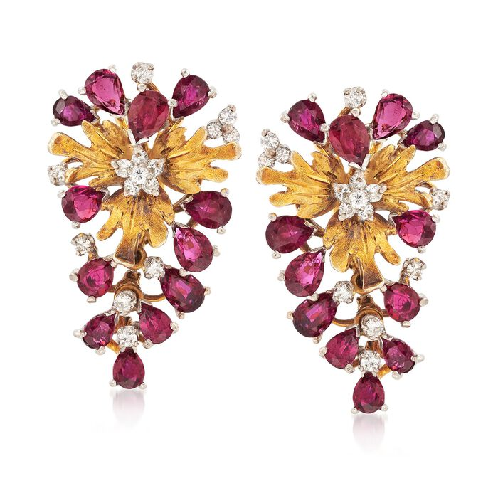 C. 1970 Vintage 7.20 ct. t.w. Ruby and .75 ct. t.w. Diamond Drop Earrings in 14kt Yellow Gold, , default