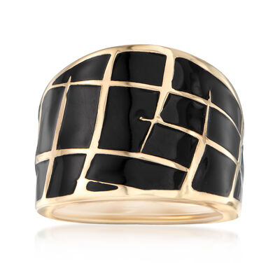 Italian Black Enamel Dome Ring in 14kt Yellow Gold