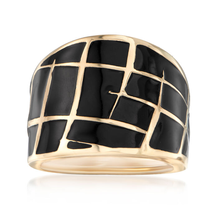 Italian Black Enamel Dome Ring in 14kt Yellow Gold, , default