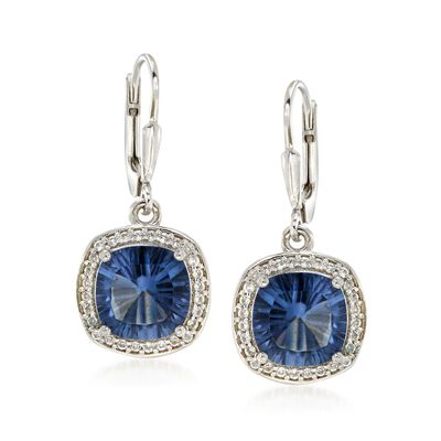 4.80 ct. t.w. Blue Quartz and .40 ct. t.w. White Topaz Drop Earrings in Sterling Silver, , default
