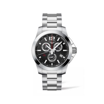 Longines Conquest Men's 44mm Chronograph Stainless Steel Watch - Black Dial, , default
