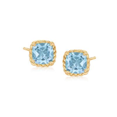 3.30 ct. t.w. Sky Blue Topaz Stud Earrings in 14kt Yellow Gold