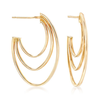 14kt Yellow Gold Triple J-Hoop Earrings, , default