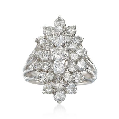 C. 1980 Vintage 2.65 ct. t.w. Diamond Cluster Ring in 14kt White Gold, , default