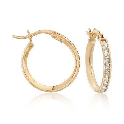 1.05 ct. t.w. CZ Hoop Earrings in 14kt Yellow Gold, , default